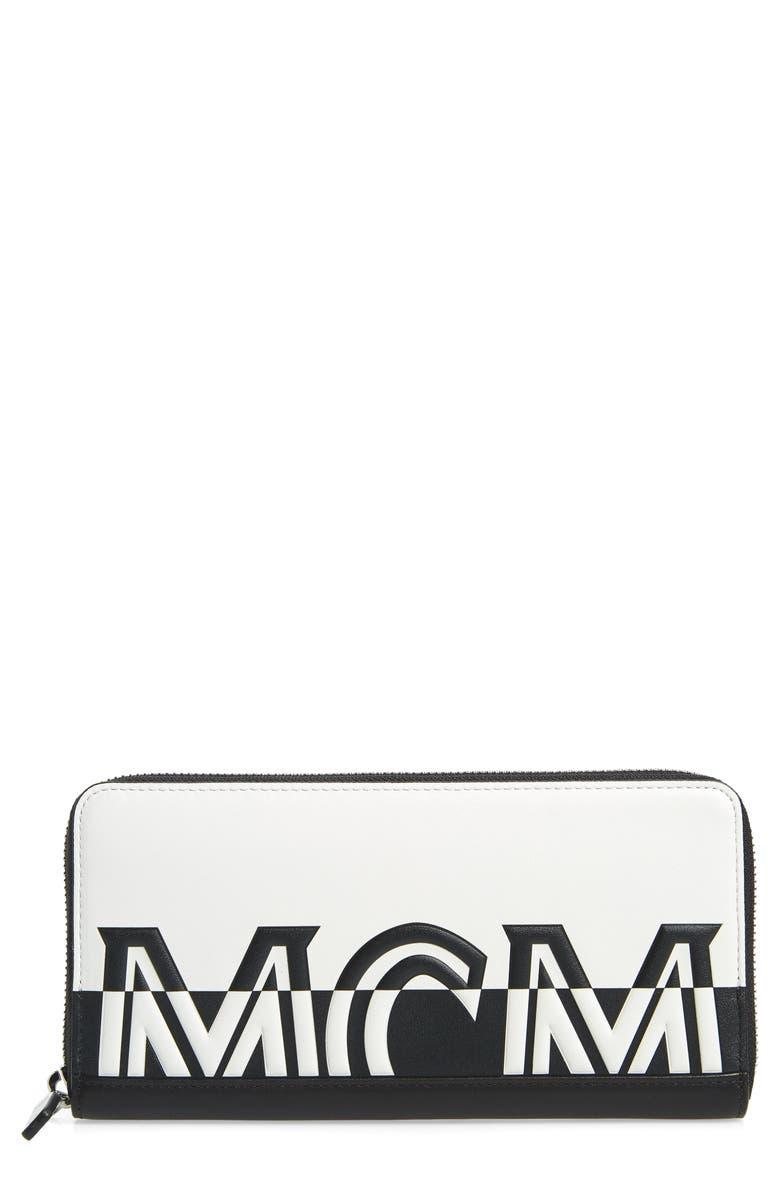 MCM Contrast Logo Zip Leather Wallet, Main, color, WHITE