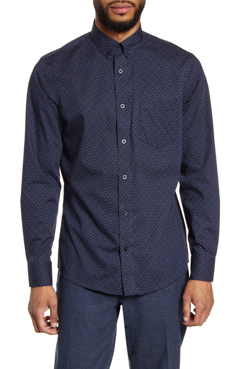 NORDSTROM MEN'S SHOP Nordstrom Mens Shop Trim Fit Non-Iron Button-Down Shirt, Main, color, NAVY DOT GRID