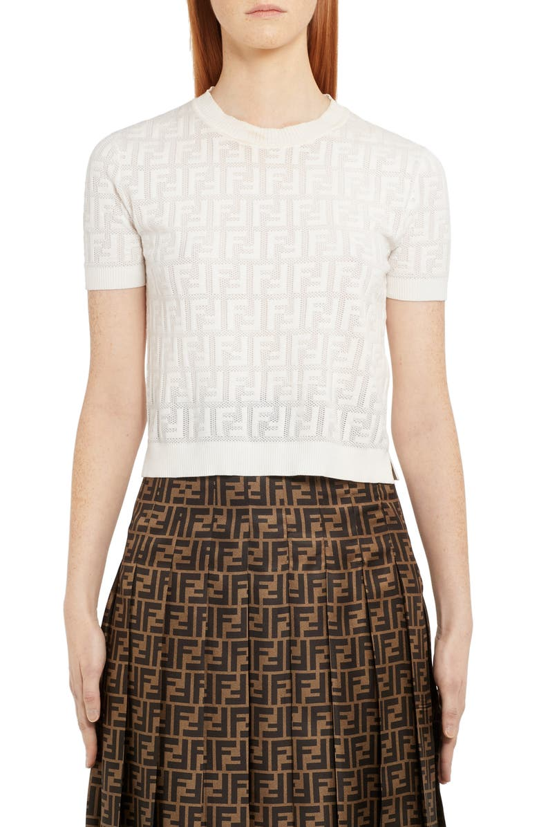 FENDI Logo Short Sleeve Sweater, Main, color, WHITE