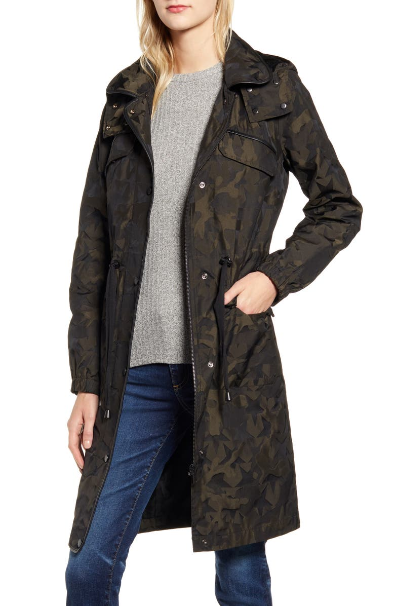 AVEC LES FILLES Water Resistant Raincoat with Removable Hood, Main, color, MILITARY
