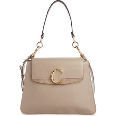 Chloe Medium C Leather Shoulder Bag - Grey