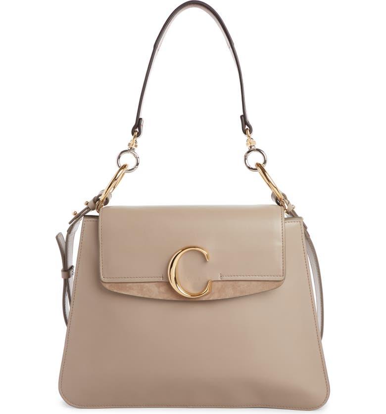 CHLOÉ Medium C Leather Shoulder Bag, Main, color, 022