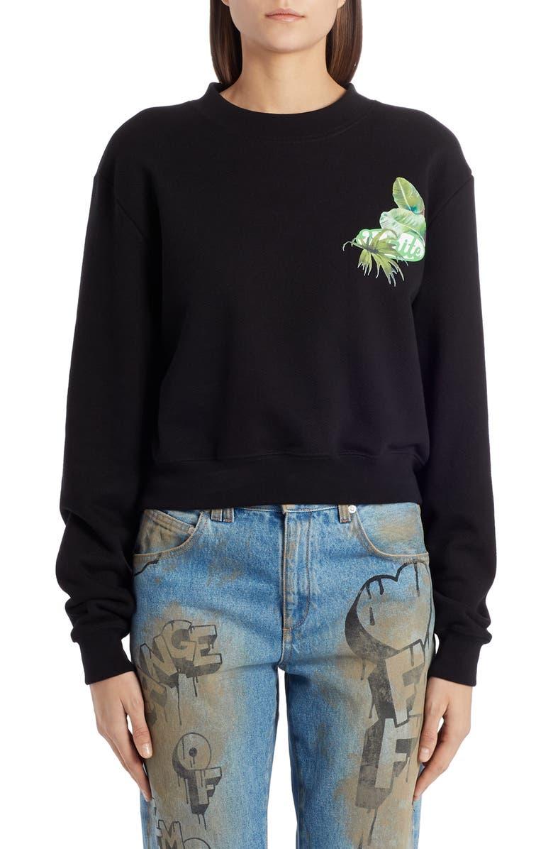 OFF-WHITE Racing Sweatshirt, Main, color, BLACK GREEN