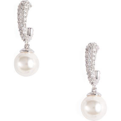 Nadri Malie Imitation Pearl Hoop Earrings