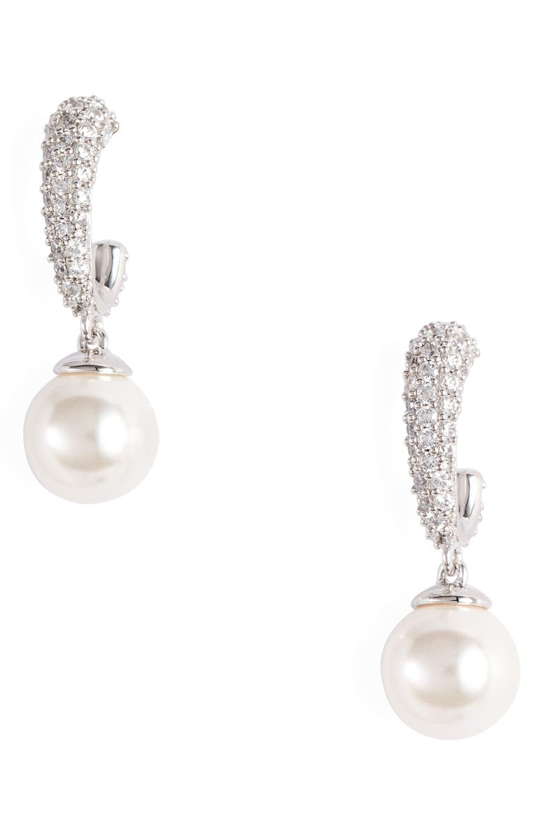 NADRI Malie Imitation Pearl Hoop Earrings, Main, color, SILVER