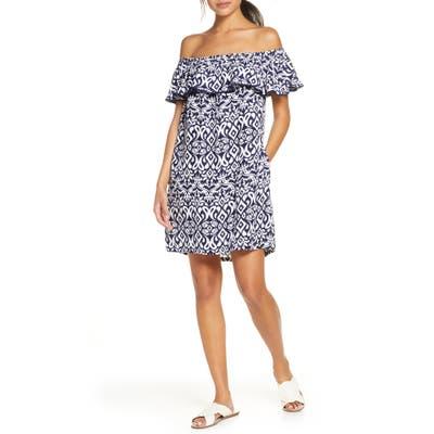 Tommy Bahama Diamond Ikat Ruffle Cover-Up Dress, White