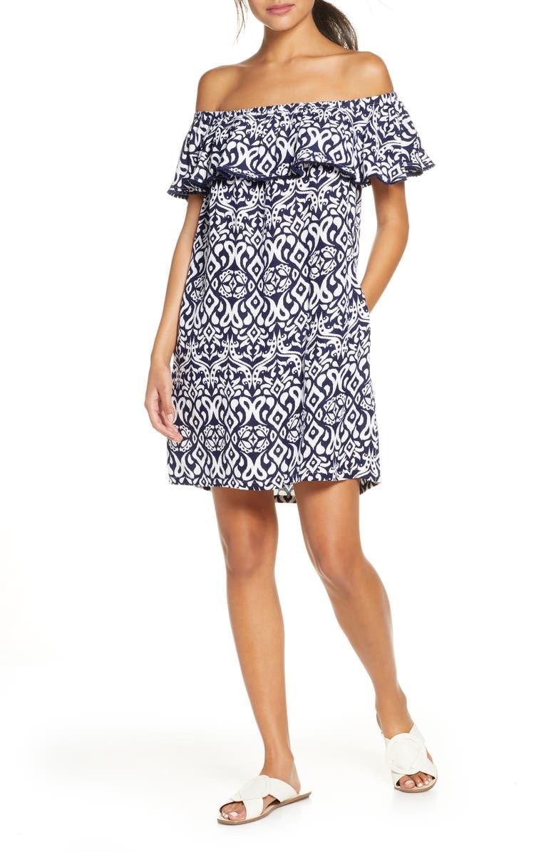 TOMMY BAHAMA Diamond Ikat Ruffle Cover-Up Dress, Main, color, MARE/ WHITE
