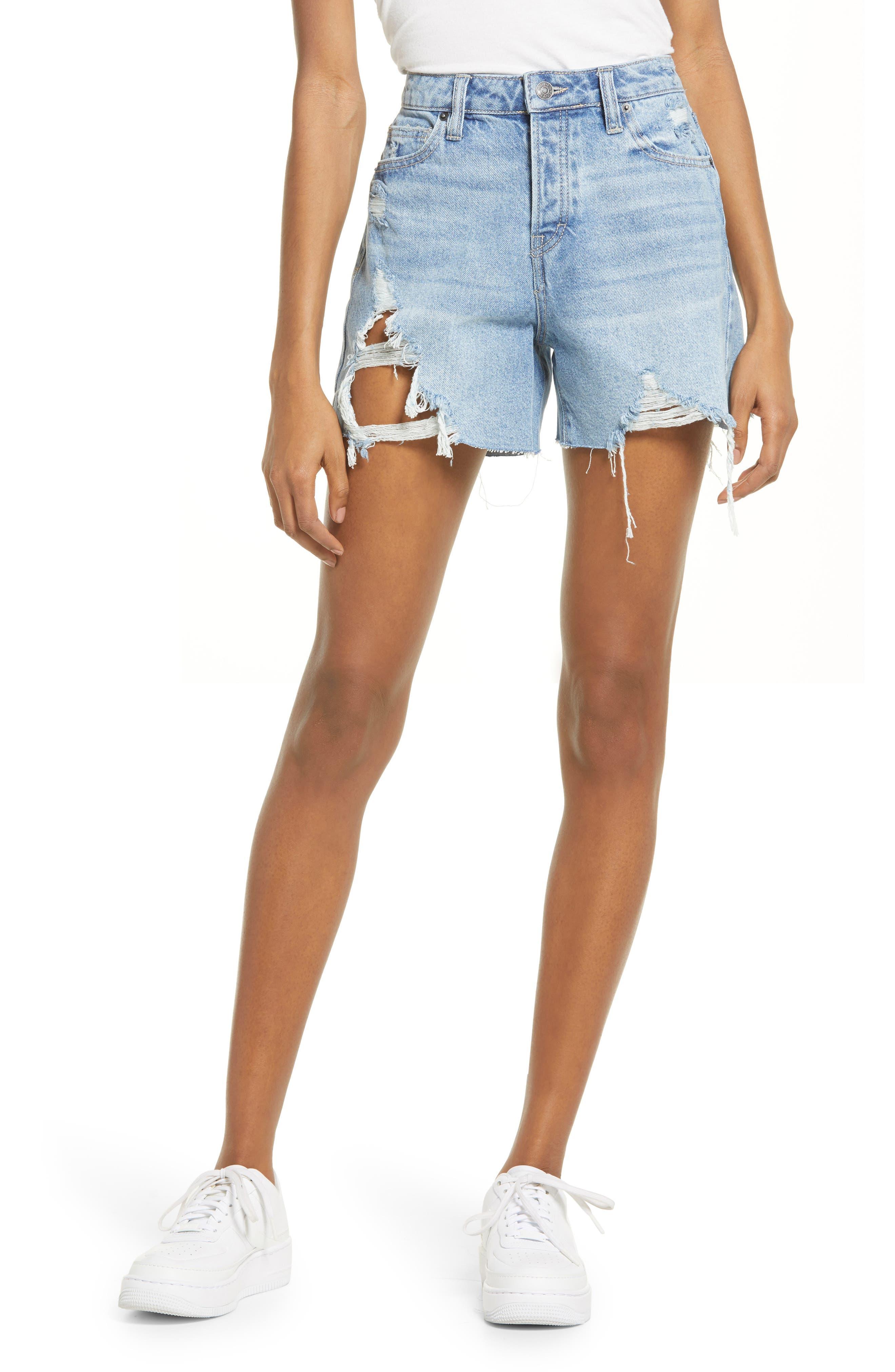 Ripped High Waist Cutoff Denim Shorts