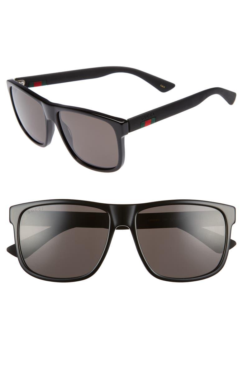 GUCCI 58mm Sunglasses, Main, color, BLACK
