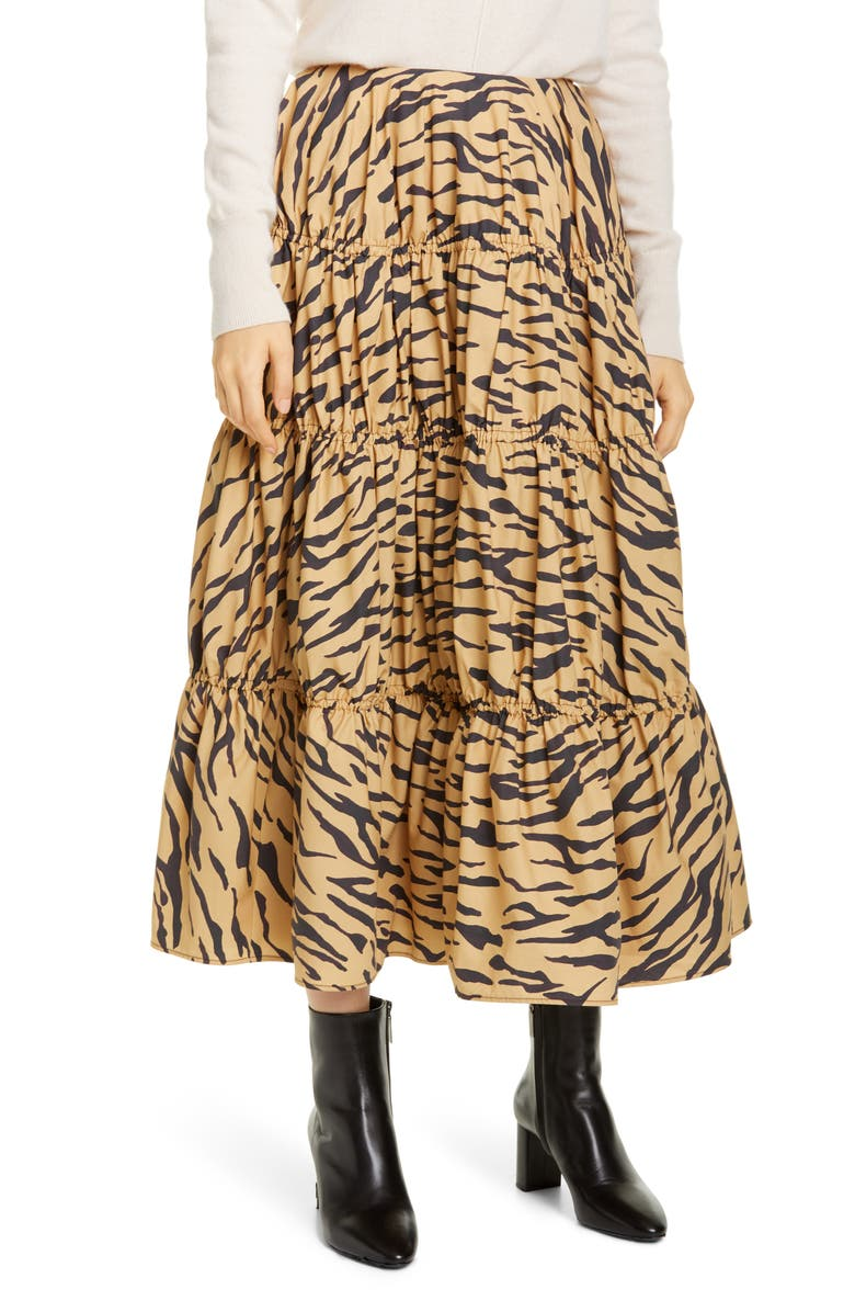 REJINA PYO Eve Tiger Print Cotton Midi Skirt, Main, color, TIGER PRINT BEIGE