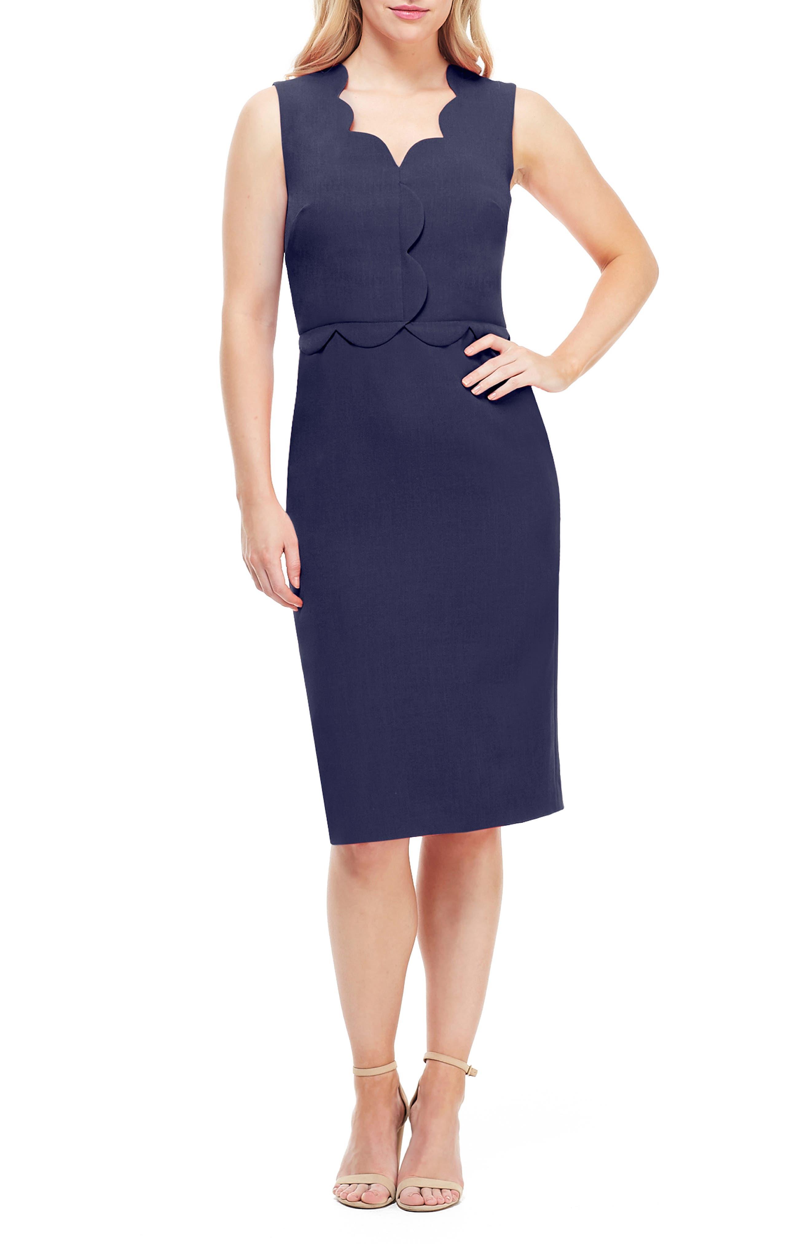 1950s Pencil Dresses & Wiggle Dress Styles Womens Maggy London Scallop Sheath Dress Size 8 - Blue $76.80 AT vintagedancer.com