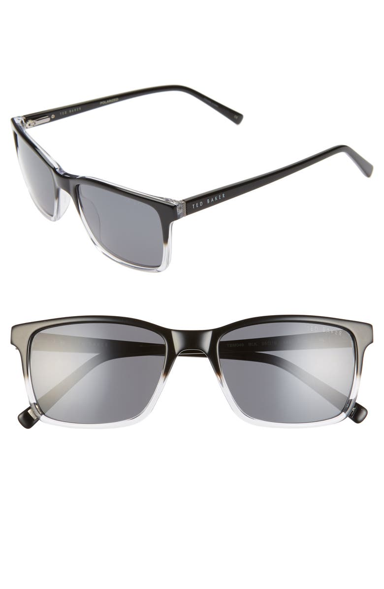 TED BAKER LONDON 55mm Polarized Rectangle Sunglasses, Main, color, BLACK