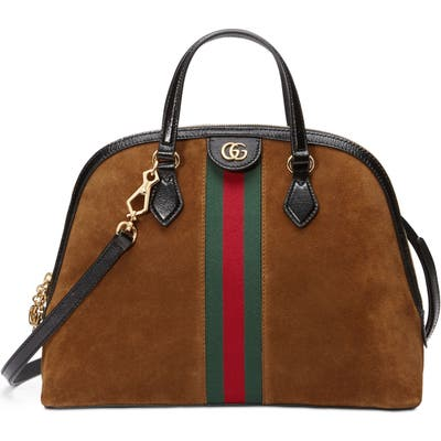 Gucci Ophidia Suede Dome Satchel - Brown