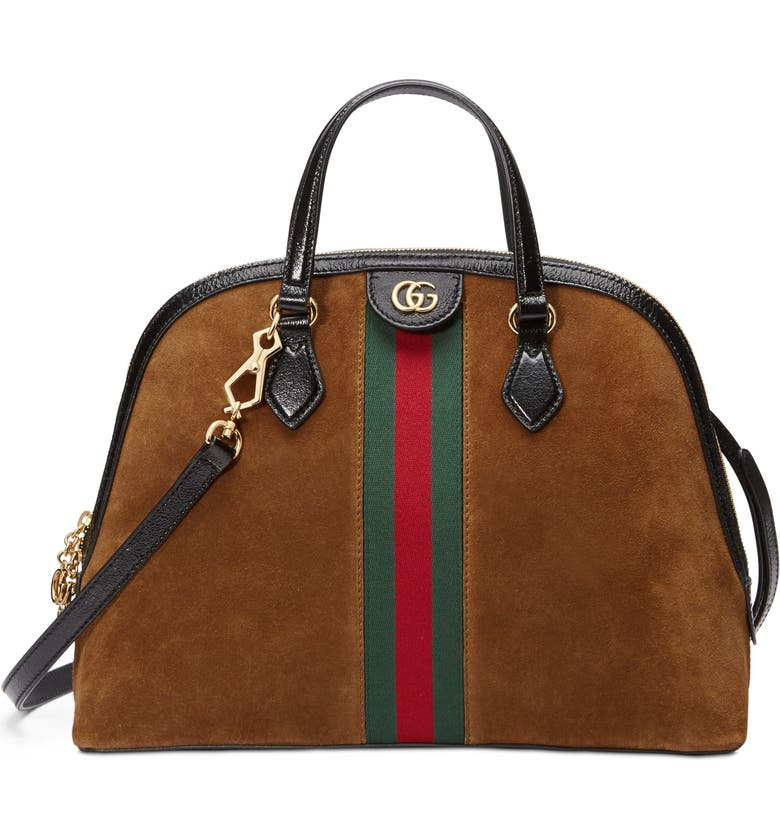 GUCCI Ophidia Suede Dome Satchel, Main, color, NOCCIOLA/ NERO/ VERT RED VERT