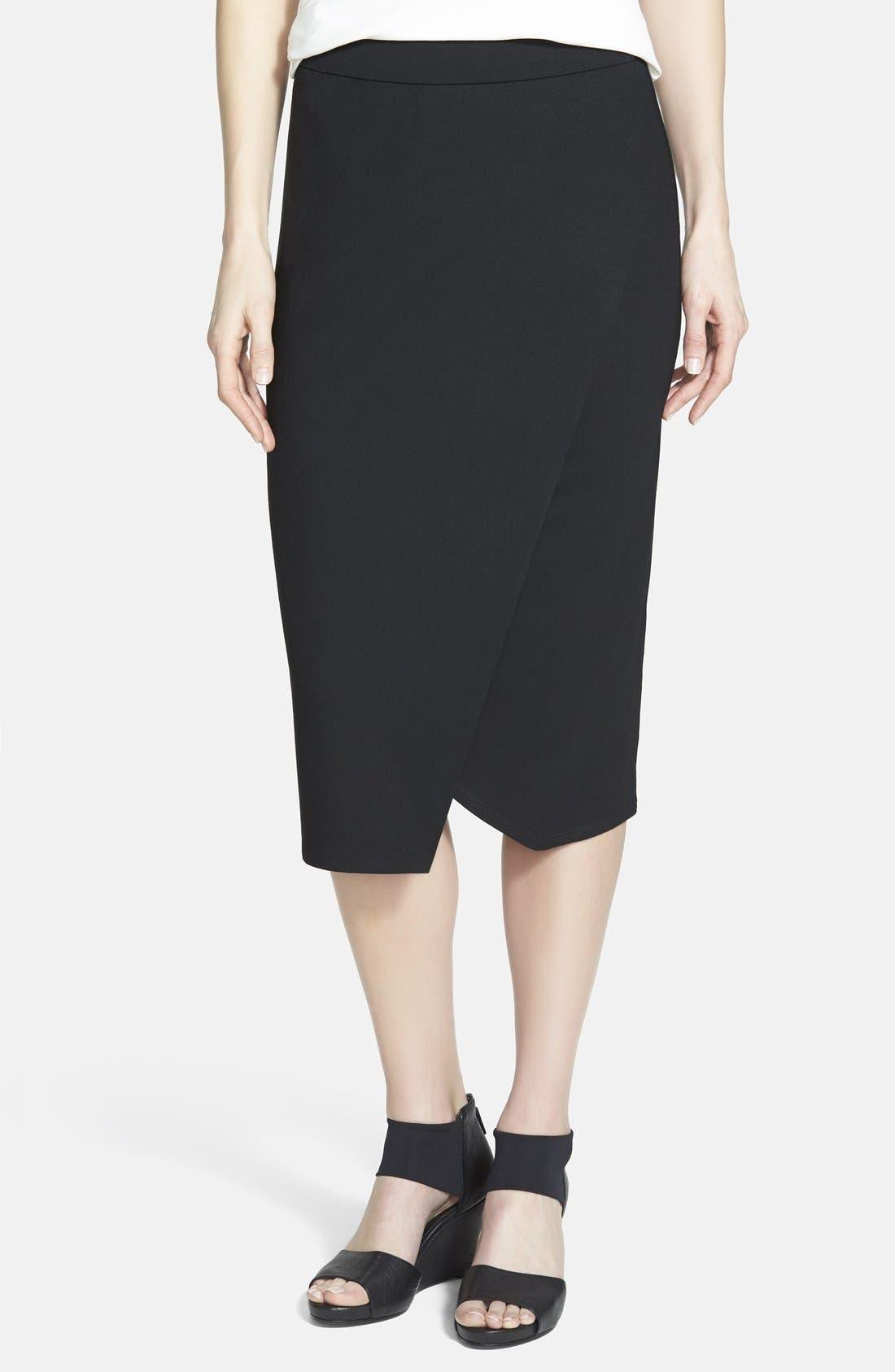 ,                             Faux Wrap Jersey Skirt,                             Main thumbnail 1, color,                             001