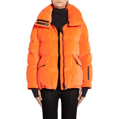 Moncler Atena Tech Velvet Puffer Jacket, (fits like 2-4 US) - Orange