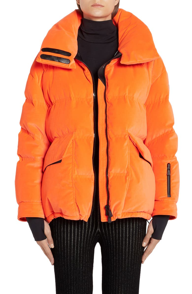 MONCLER Atena Tech Velvet Puffer Jacket, Main, color, ORANGE