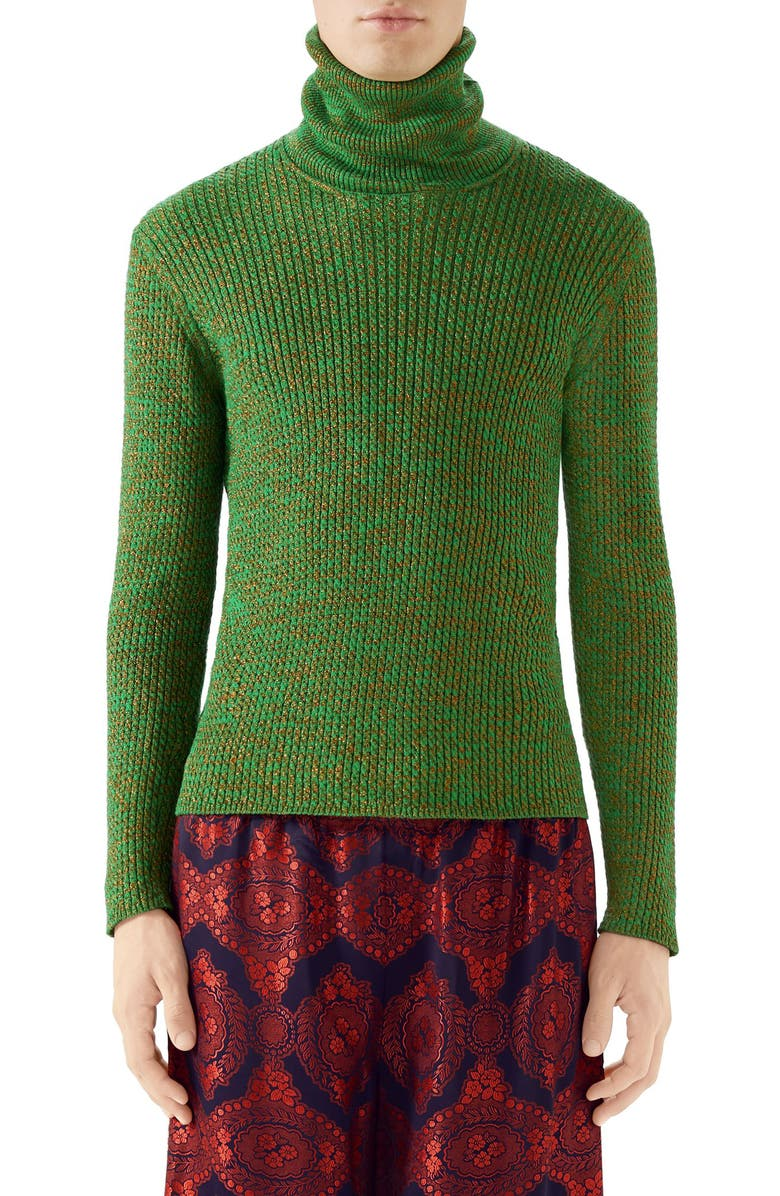 GUCCI Metallic Ribbed Turtleneck Sweater, Main, color, YARD MULTI COLOR