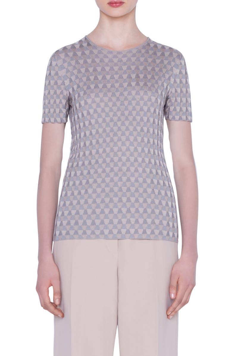 AKRIS Trapezoid Jacquard Silk Sweater, Main, color, 381-SILVER-BIRCH