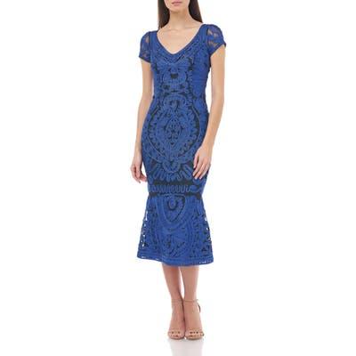 Js Collections Soutache Trumpet Dress, Blue