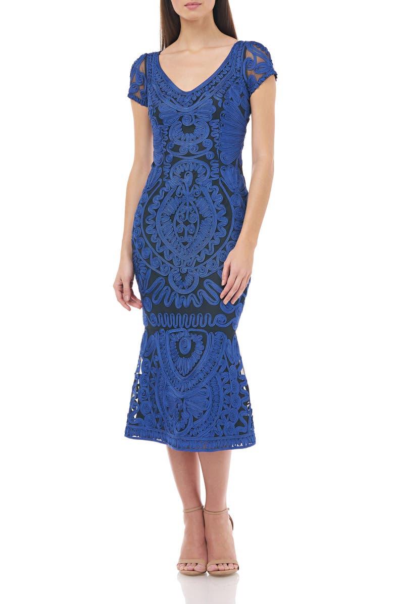 JS COLLECTIONS Soutache Trumpet Dress, Main, color, ROYAL NAVY