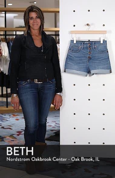 Button Front High Waist Denim Shorts, sales video thumbnail