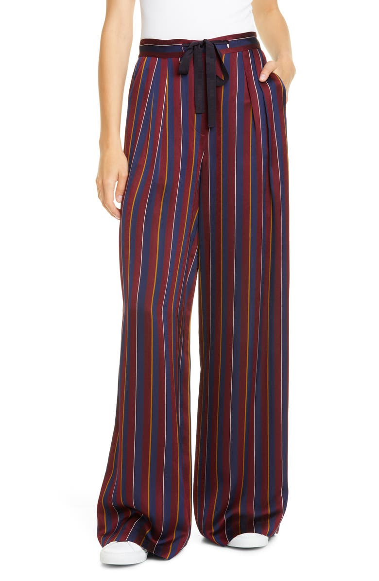 HILFIGER COLLECTION Tie Waist Pyjama Pants, Main, color, CABERNET / MULTI