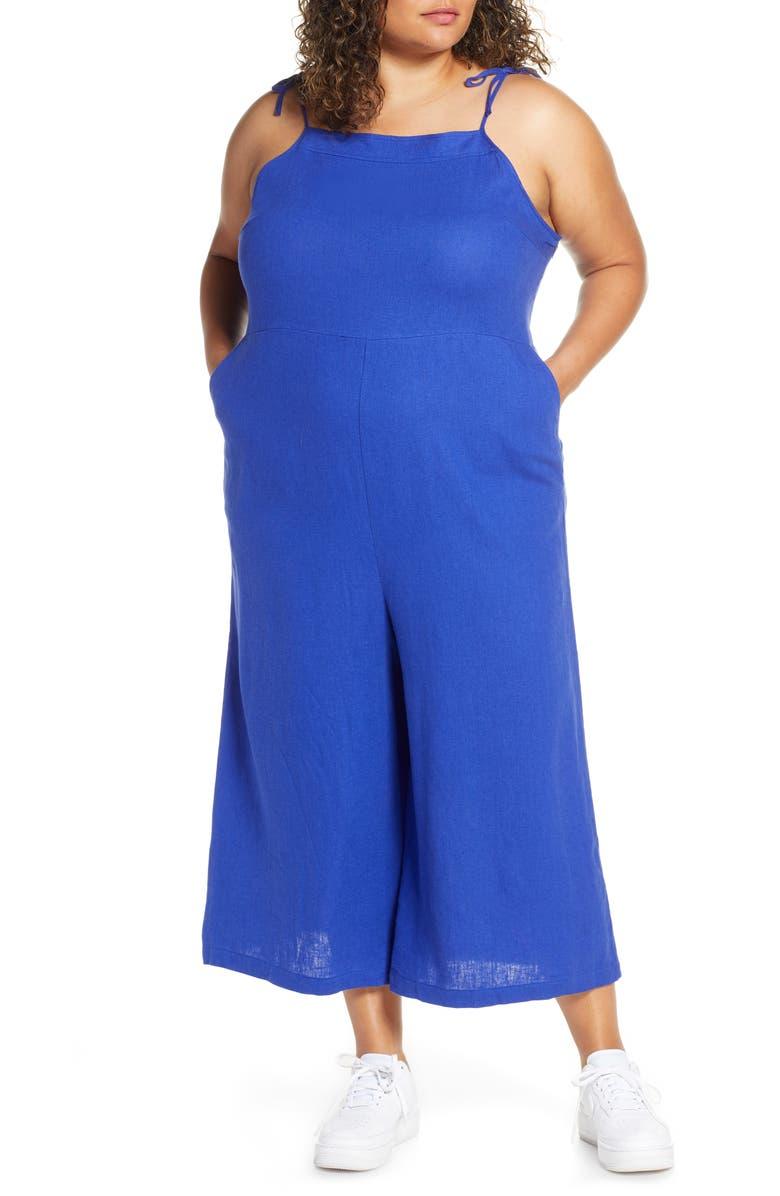 BP. Wide Leg Linen Blend Crop Jumpsuit, Main, color, BLUE CLEMATIS