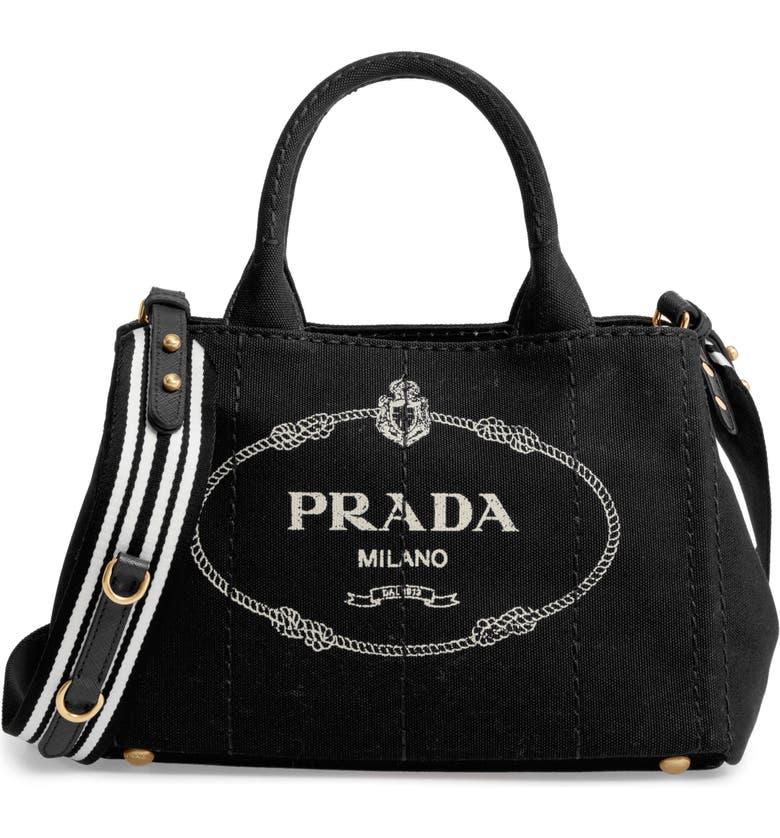 PRADA Canapa Logo Garde Canvas Tote, Main, color, 001