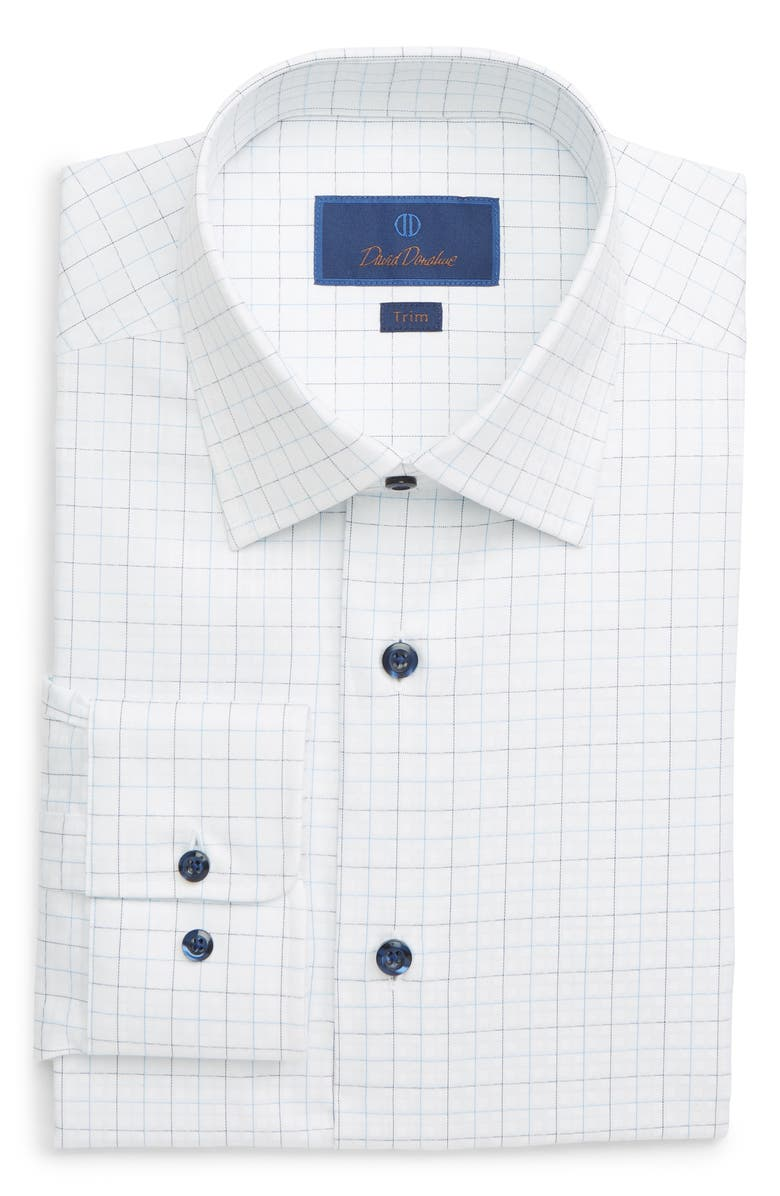 DAVID DONAHUE Trim Fit Windowpane Dress Shirt, Main, color, 412