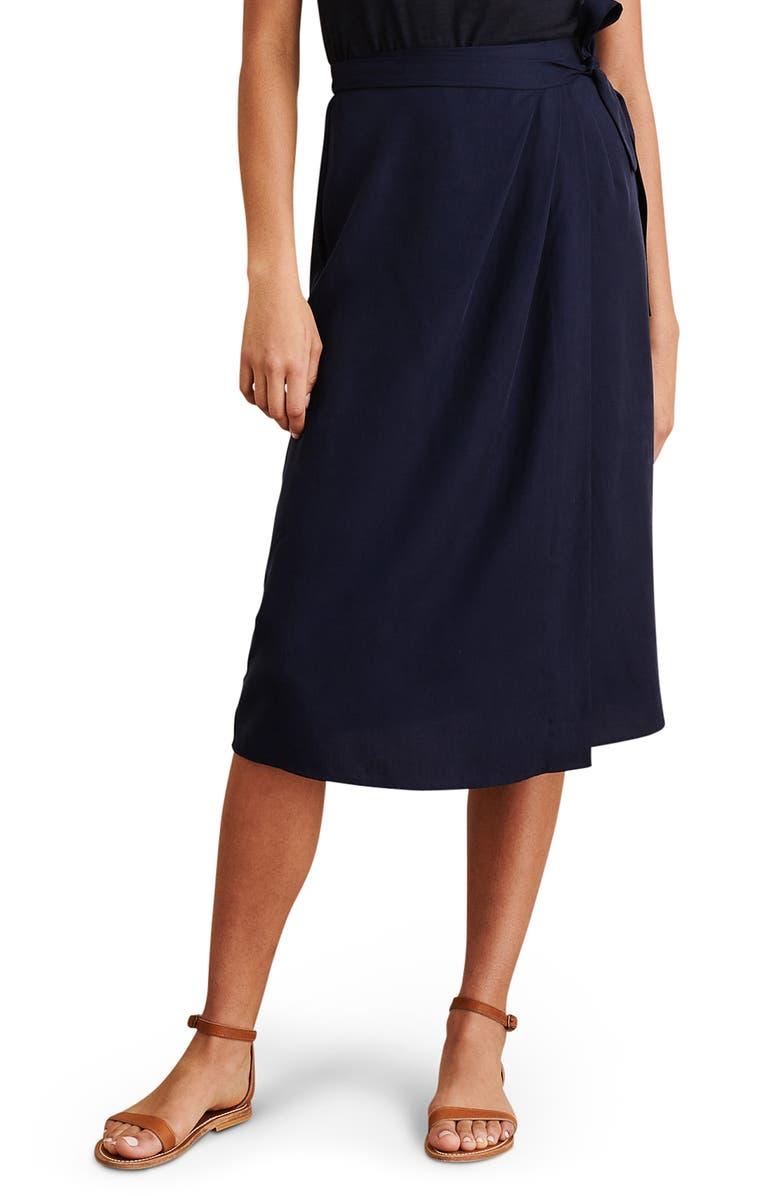 ALEX MILL Wrap Skirt, Main, color, DARK NAVY