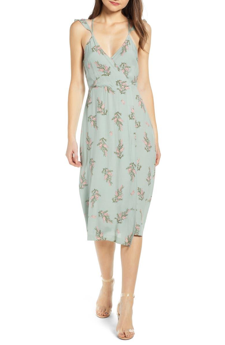 4SI3NNA Dual Strap Floral Wrap Midi Dress, Main, color, 300