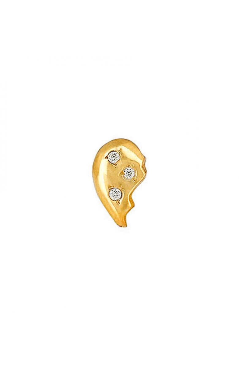MINI MINI JEWELS Diamond Icon Half Heart Earring, Main, color, YELLOW GOLD