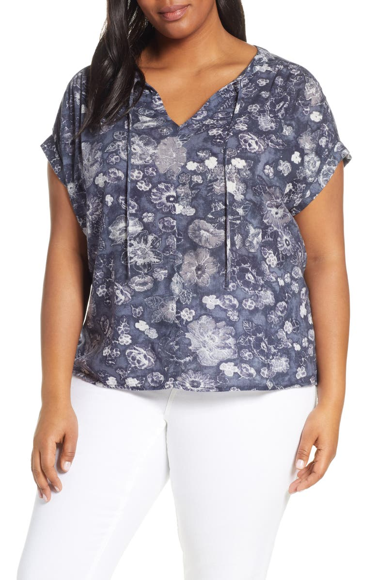 CASLON<SUP>®</SUP> Print Split Neck Blouse, Main, color, NAVY I DEASERT BLOOM
