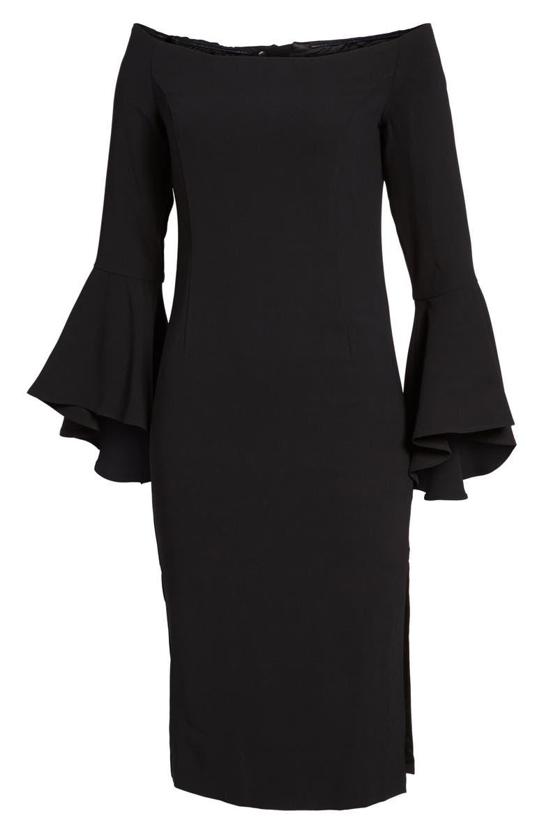 BARDOT 'Solange' Off the Shoulder Midi Dress, Main, color, 001