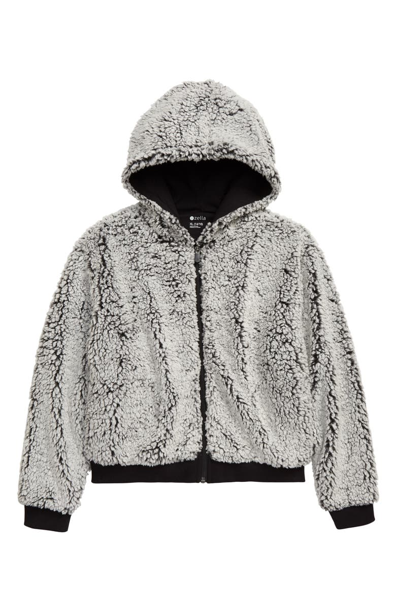 ZELLA GIRL Cozy Hooded Jacket, Main, color, 001