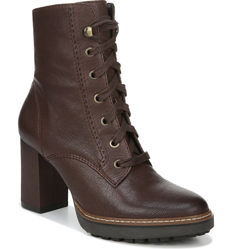 NATURALIZER Callie Lace-Up Boot, Main, color, CHOCOLATE LEATHER