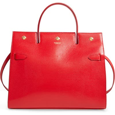 Burberry Medium Title Lizard Embossed Leather Bag - Red (Nordstrom Exclusive)
