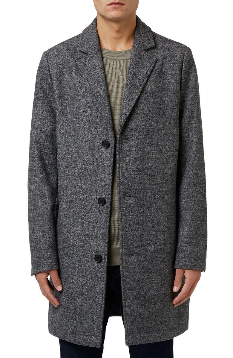 TOPMAN Wool Blend Overcoat, Main, color, 020