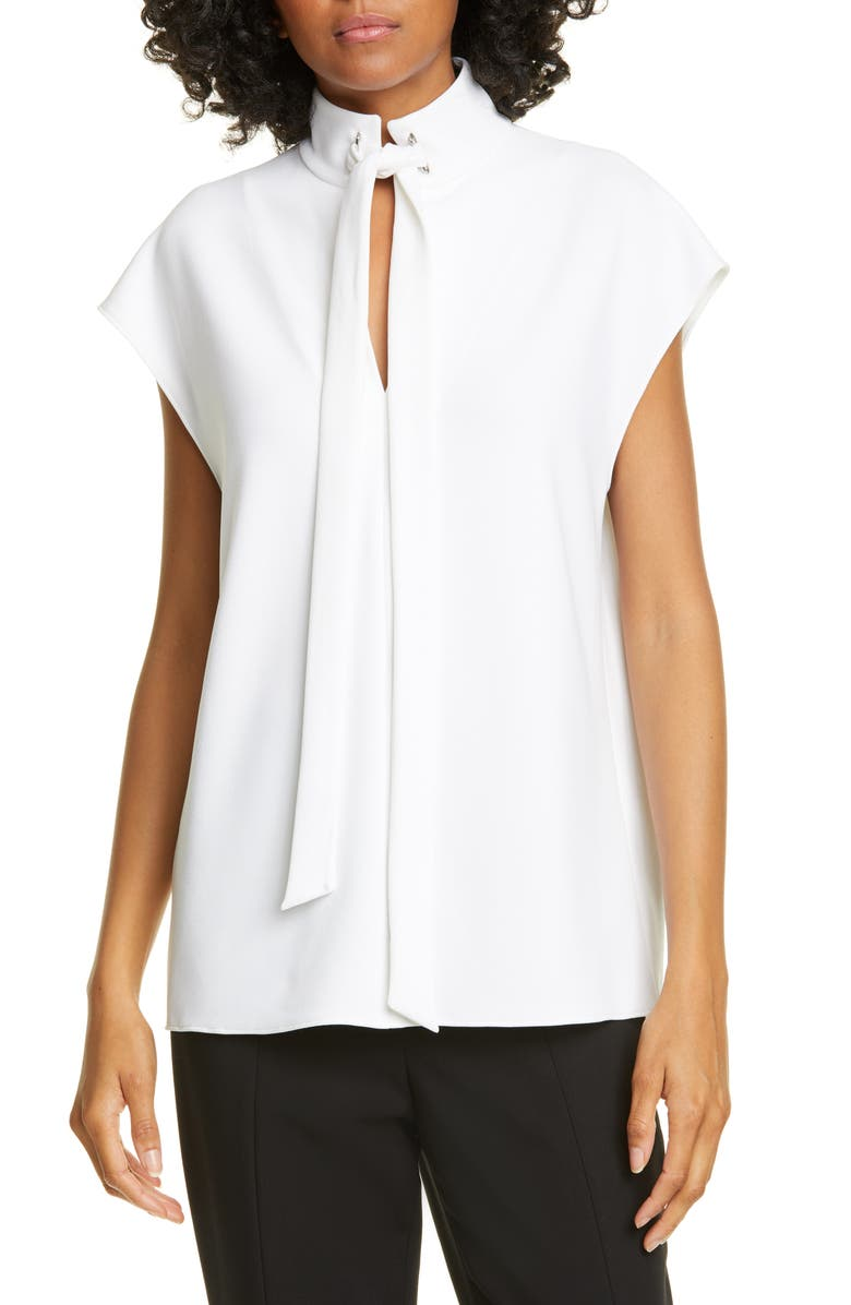 Structured Crepe Tie Neck Top by Tibi