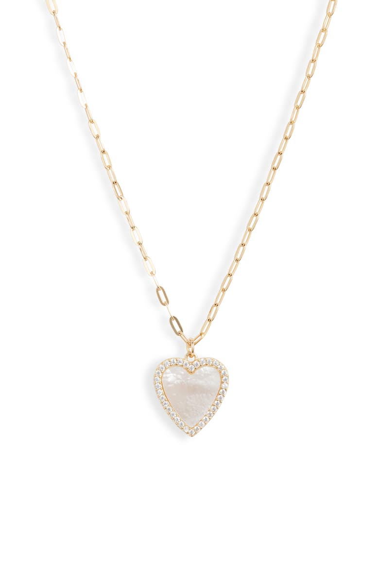ARGENTO VIVO STERLING SILVER Argento Vivo Mother-of-Pearl Heart Pendant Necklace, Main, color, GOLD