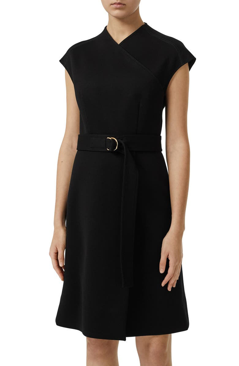 BURBERRY Dulsie D-Ring Detail Bonded Jersey Dress, Main, color, 001