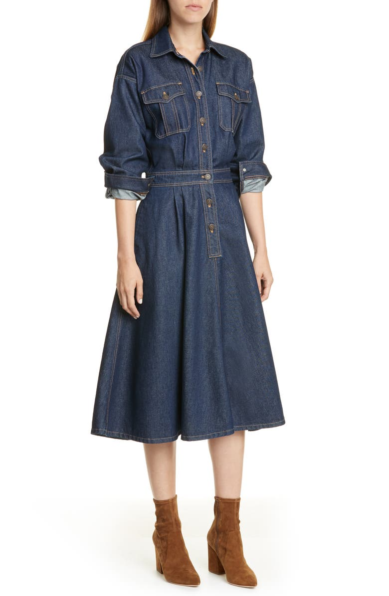 POLO RALPH LAUREN Long Sleeve A-Line Denim Dress, Main, color, 405