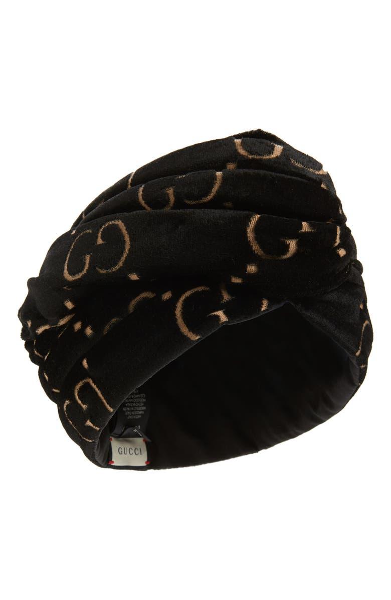 GUCCI GG Jacquard Velour Headband, Main, color, BLACK/ BEIGE