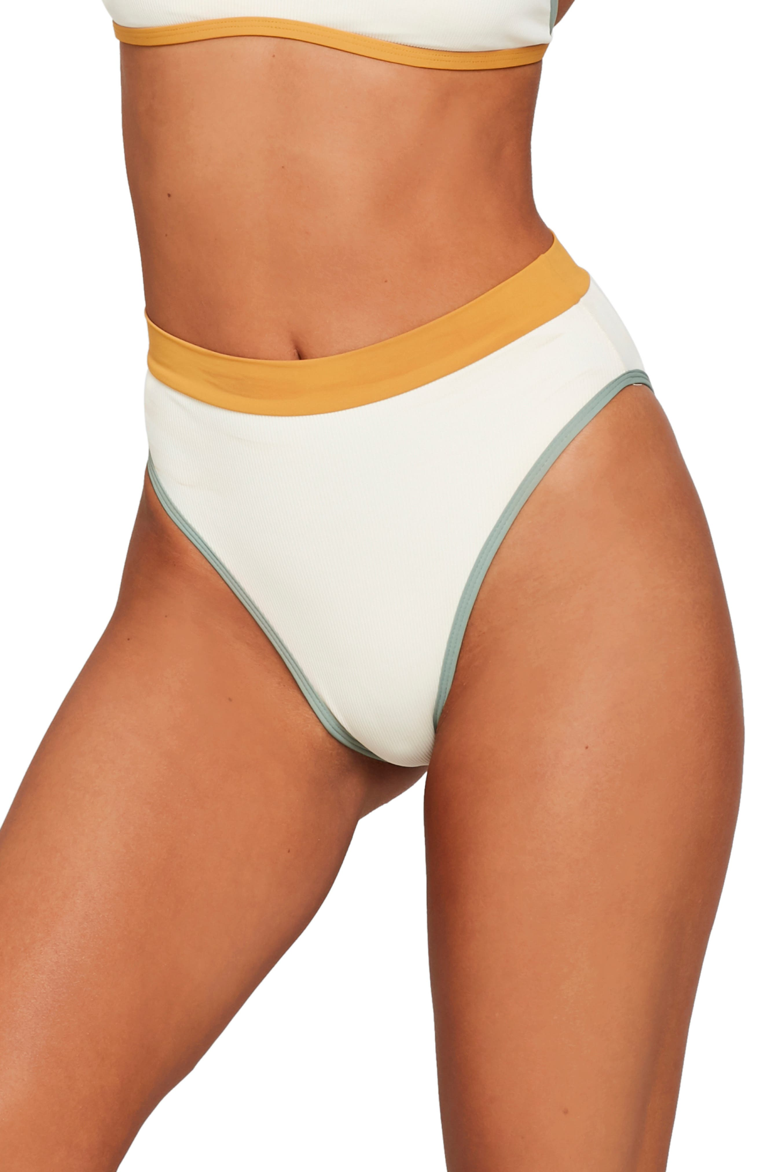 L Space French Cut High Waist Textured Swim Bottoms, Ivory