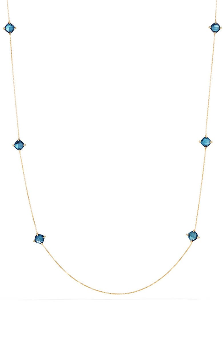 DAVID YURMAN 'Châtelaine' Long Semiprecious Stone Necklace with Diamonds, Main, color, HAMPTON BLUE TOPAZ