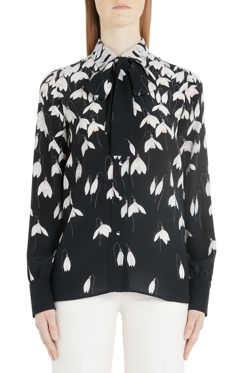 VALENTINO Bucaneve Tie Neck Silk Blouse, Main, color, K92-BLACK/ MULTICOLOR