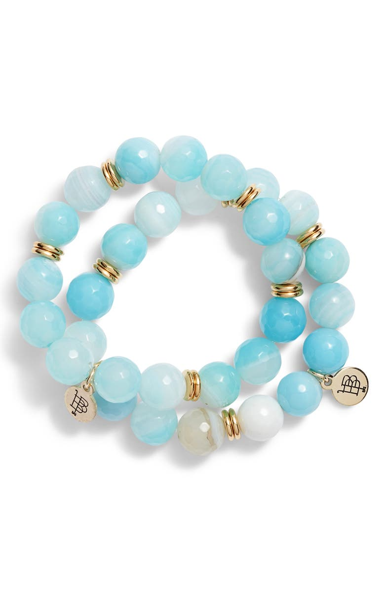BOURBON AND BOWETIES Set of 2 Agate Beaded Stretch Bracelets, Main, color, 400