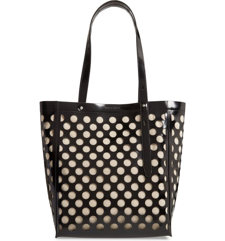 REBECCA MINKOFF Stella Perforated Leather North/South Tote, Main, color, 001