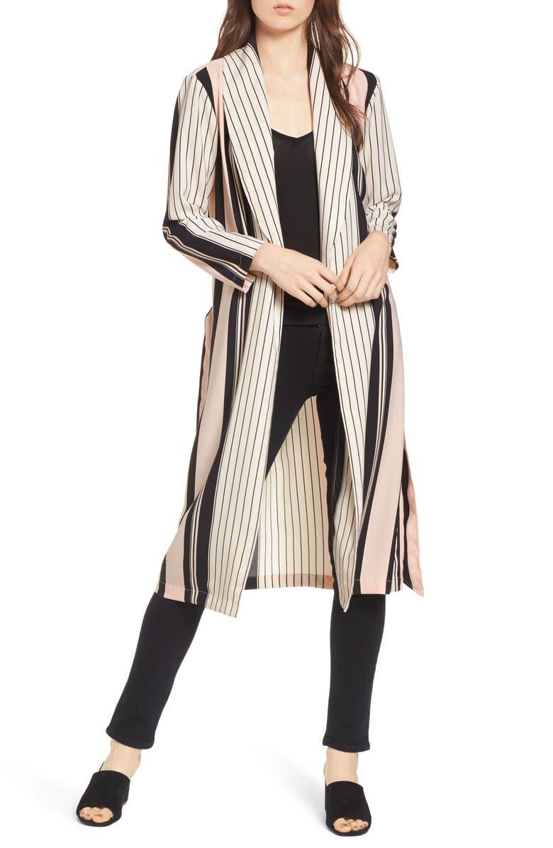 TROUVÉ Stripe Longline Jacket, Main, color, 900